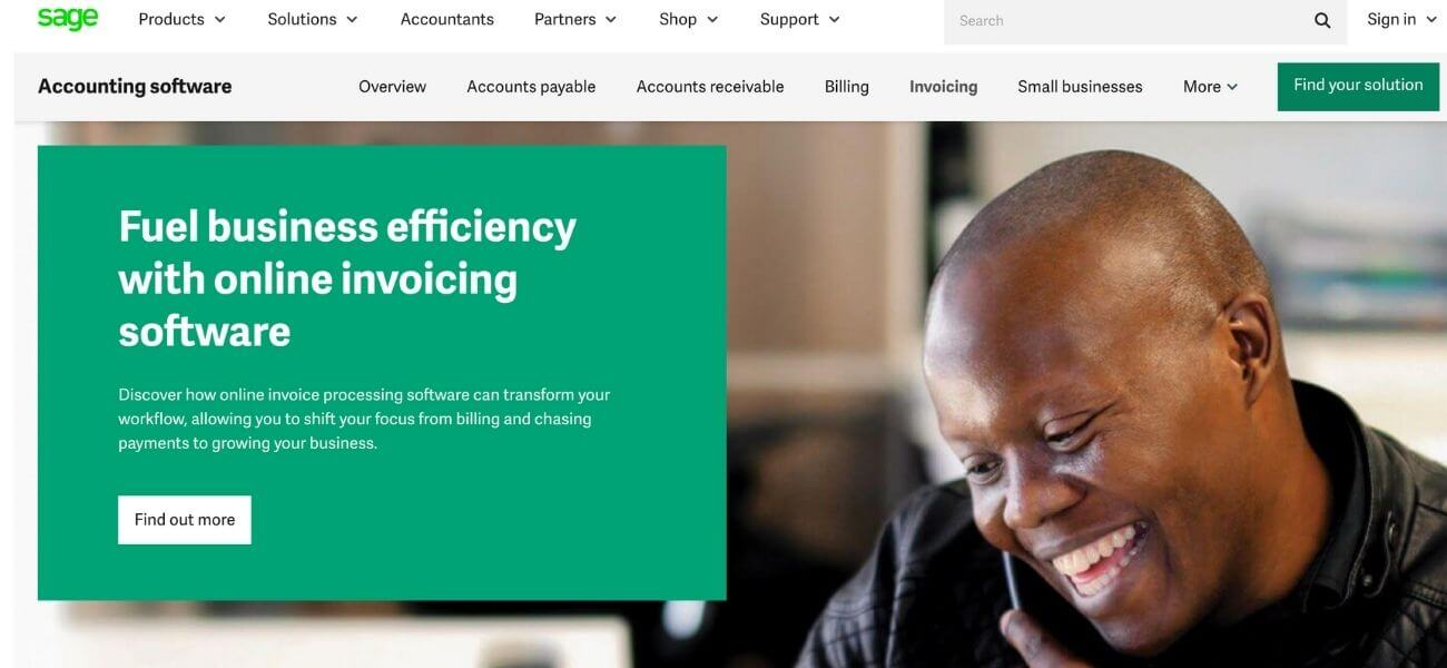 Sage invoicing software